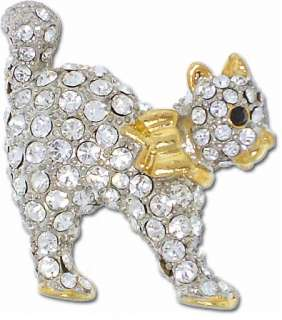 NEW Cute Kitty Cat Rhinestone Brooch Pin