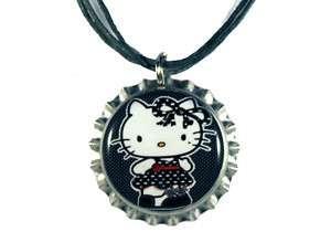 Punk Emo HELLO KITTY Silver Bottle Cap Ribbon Necklace