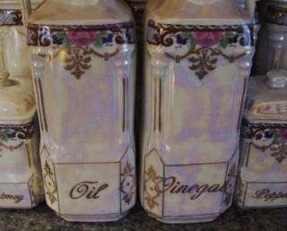 Antique Victoria China Canister Cruets Clock Spice Jars