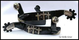 Black Steel Spurs with 3 Silver Crosses and Drop Shank