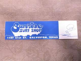 1960s Galveston Texas   Sunrise Surf Shop Bumper Sticker, Unused