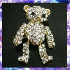 MOVING TEDDY BEAR SWAROVSKI CRYSTAL BROOCH PIN BR22