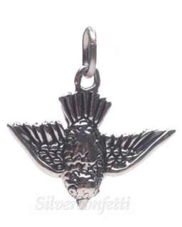 Sterling Silver BLUE BIRD in FLIGHT Lucky & Symbol of Happiness CHARM